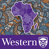 """Western University logo with stylized Africa graphic"
